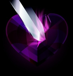 Purple heart-crystal and blade vector