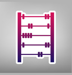 Retro abacus sign purple gradient icon on vector