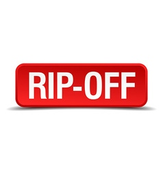 Rip off red 3d square button isolated on white vector
