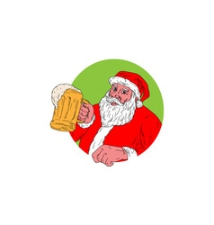 Santa claus drinking beer drawing vector
