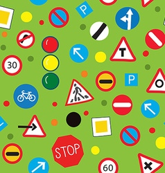 Seamless pattern with road signs - funny design vector image vector image