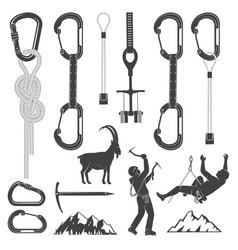 Set of alpine climbing equipment silhouette icons vector