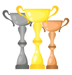 Set of trophy champion cups vector