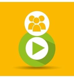 Social media group video player design vector