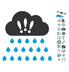Thunderstorm rain cloud icon with air drone tools vector