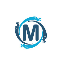 Water clean service abbreviation letter m vector