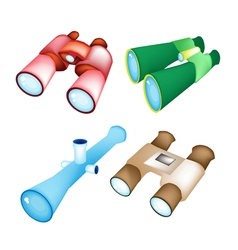 Set of four style binoculars vector
