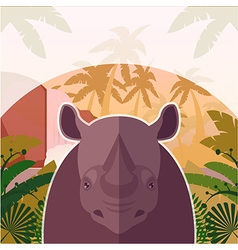 Rhino on the jungle background vector