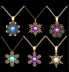 Set of jewelry vintage pendants ornament made of vector