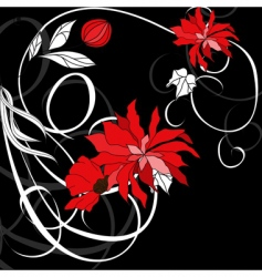 Red flowers on black background vector