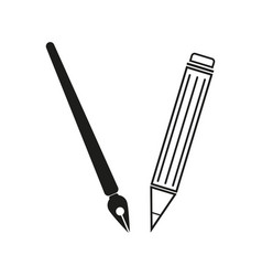brush and pencil sign black vector image