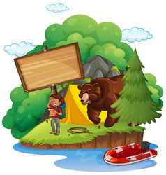 Board template with camper and bear vector