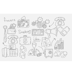 Hand drawn doodles background with business icons vector