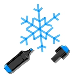 Snowflake and marker vector