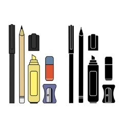 Stationery writing tools set color silhouette vector