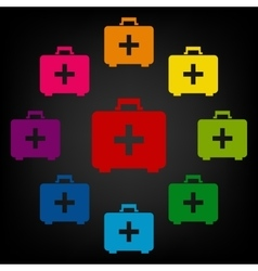 First aid box icon set vector