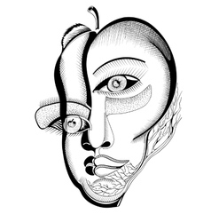 Surreal hand drawing faces vector