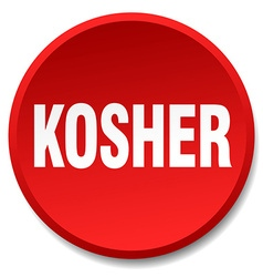 Kosher red round flat isolated push button vector