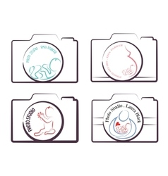 Photography logo templates family  children and vector