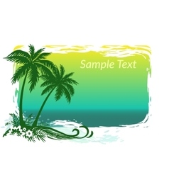 Palms flowers and sea landscape vector