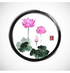 Lotus flowers in black enso zen circle vector