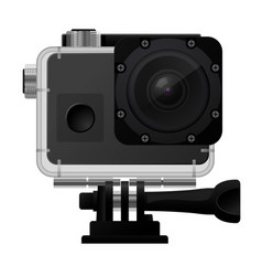 Action camera in waterproof box - sport cam icon vector