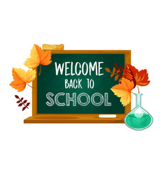 Back to school chalkboard leaf poster vector