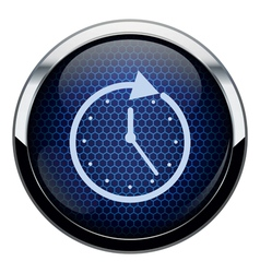 Blue honeycomb clock icon vector image vector image