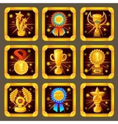 Cartoon achievement game screen icon set vector