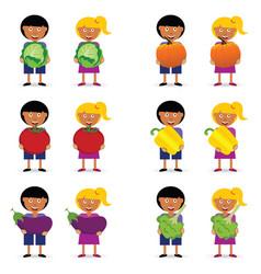 children holding vegetables item vector image vector image