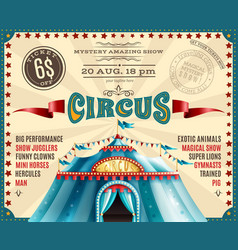 Circus performance announcement retro poster vector