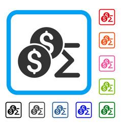 Coin summary framed icon vector