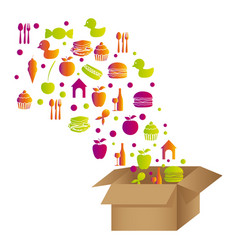 Colorful pattern with food elements in carton box vector