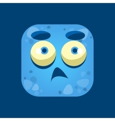Confused blue monster emoji icon vector