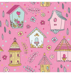 Cute bird house background - seamless pattern vector