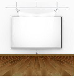 Empty room with wooden floor illumination and vector
