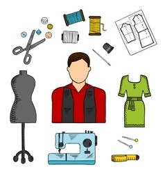 Fashion designer with sewing tools colored sketch vector image
