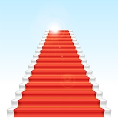 Front staircase and red carpet on blue sky backgro vector