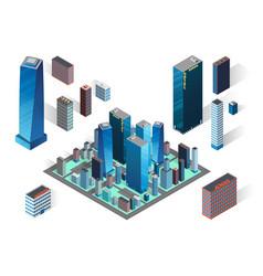 Isometric buildings set vector