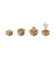 Lightbulb in the box vector