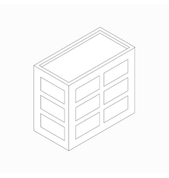 Low-rise office building icon isometric 3d style vector