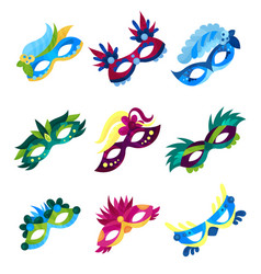 masquerade masks set colorful carnival masks with vector image