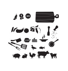 meat restaurant food icon set vector image