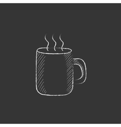 Mug of hot drink drawn in chalk icon vector