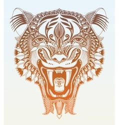 Original head tiger drawing with the opened fall vector