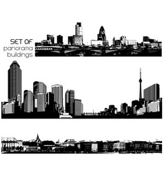 set of black and white cityscapes with skyscrapers vector image