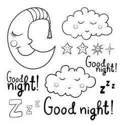 set of contour images about sleeping for coloring vector image vector image