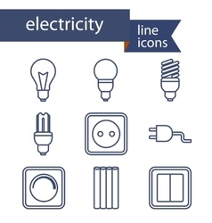 Set of line icons for diy electricity tools vector