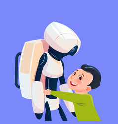 Small boy playing with modern robot futuristic vector