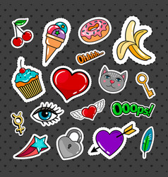 Sweet quirky badges set vector